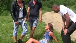 Hard fucking Foursome Picnic all over the youngster pussy