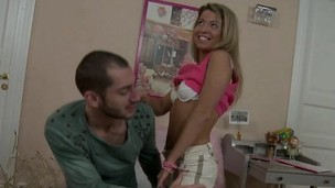 Barely legal blonde cutie gets down to pleasure her older boyfriend
