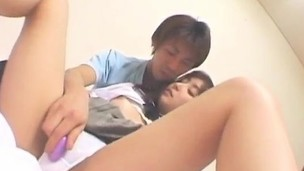 Haruka Hoshikawa has hairy cunt aroused and fucked all the