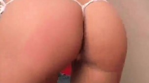 Handsome kitten Addison wiggles her perfect round booty and shows cunny