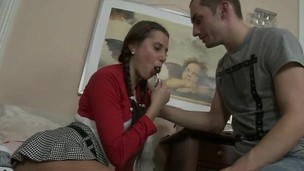 Kinky blond chick enjoys every minute of her first anal experience