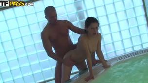 Aspen, Kveta and Taya are naughty college chicks! They came in the sauna and met there some sexy guys! In this video Aspen taste one hard dick with her tight pussy and whoring mouth!