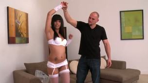 Hot and sweet young sexy chick Jessie Marie excepted sexy white underwear from Jmac and thanked him with great deep oral-stimulation passionate unforgettable fuck!
