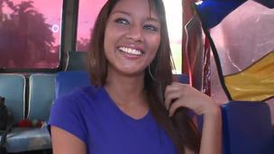 Liz Paola comes home from college! We met her in the public transport! She looks so radiant and fresh! We can not let her go and decided to take an interview! Liz Paolahesitates but looks so sweet.