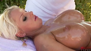 Blonde sweetie Jordan Pryce with big hooters and trimmed beaver is too hot to stop fingering her twat