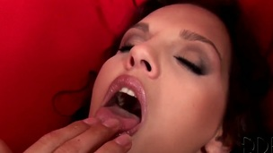 Brunette hair Eve Angel with big a-hole and clean muff cant live a day out of playing with her slit