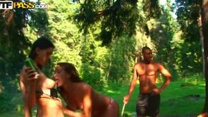 Olympia, Roxi and Veronica came with their boyfriends in the forest for a pick nick. Babes drink bear, becomes excited and begin to play with their charms while their boyfriends are cooking.