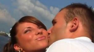 Mixed race outdoor gang bang For Nice Newlywed Bride