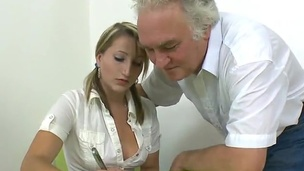 Bad trainee Kira has Punished By Her Elderly instructor
