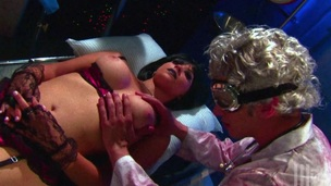 Two cougars in stockings swallow cum in a hardcore FFM threesome clip