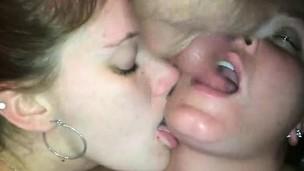 Cumming on 2 Naughty Teens he Met on the Net