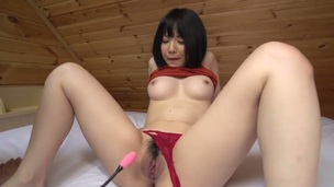 Hot brunette asian, Airi is having an highly sensual solo with her pink vibrator. She shoves that damn thing far up her hairy tunnel of love and fingers herself for maximum pleasure