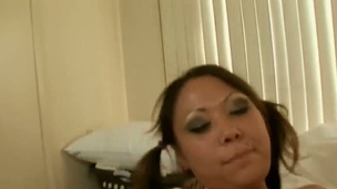 Dark brown oriental Kandice Kavelli acquires her love tunnel stretched by hard tool in interracial sex action