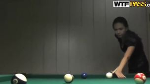 Natasha and her new friend are playing snooker and she finally looses. And for that she need to take off her shirt and make a deep blowjob. Those are rules. Watch and enjoy