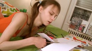 Beata has some homework, and, judging by the look on her face, it must be some pretty intense shit, too. So, I sure hope she gets it done and a passing grade, too. Poor girl.