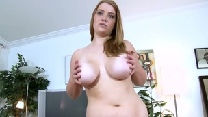 Unreally plump Sierra Sky comes to the porn casting with youthful stranger and while talking to him, agrees to get undressed and have her boobs mashed by stranger. Wow!
