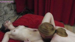 Lesbian babe tongue fucks her partners moist slot