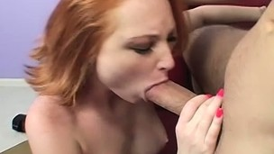 Pale redhead babe with perky titties suffers some violent anal sex