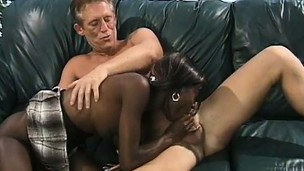 Chocolate bitch is seducing white stud with massive and hard penis