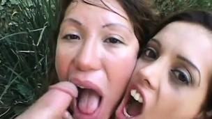 Two slutty babes blowing three huge dongs and sharing their hot juices