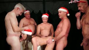 Christmas is Cumming with old balls pulp for nasty girl