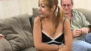 Perky little Kat gets too good of an offer and fucks 2 old dudes for cash