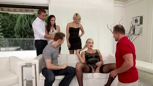 Three couples get together for a hot group sex party