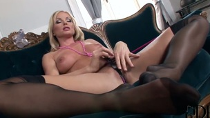 Blonde Silvia Saint parts her legs to fuck herself, take dildo in her dripping wet muff pie