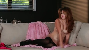 Natasha Malkova with small tities and trimmed beaver fills the hole between her legs with sex toy