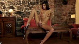 Brunette Candice Luca showing nice solo tricks with her new toy