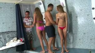 Swinger shower turned out well for the hot teens. Bernice and her boyfriend Tony were invited by Renato and his girl Jessica Lux for a nice small party at their house.