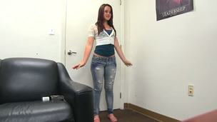 Teen and cute girl came for an audition today. Her name is Izzy Ryder and she is here to do a justice to herself. Izzy stands up and lets us to check her forms covered with clothes.