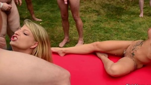 3 German Teens in Bukkake und Gangbang Outdoor
