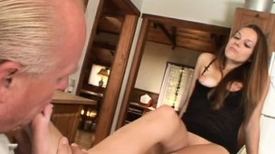 Old horny man plays with young broad's delicious feet in stockings