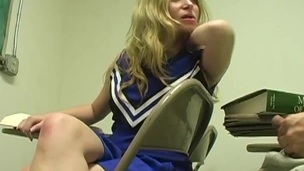 Cheerleader Aiden Starr in miniskirt shows her nice ass and gives blowjob