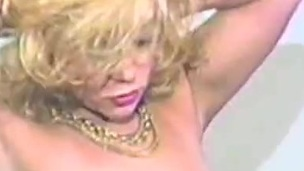 Desirous blonde milf sucks a cock then rides it hardcore in an epic retro movie scene