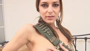 Solo spinner teases with her small tits