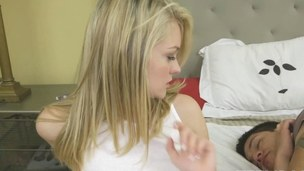 blonde beauty has a fat schlong to suck and nibble on