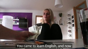 Blonde honey takes a long look at money and takes it