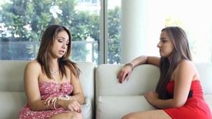 Hot teen virgin has her hot friend fuck her ass with a dildo
