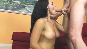 Alluring brunette Natasha Nice delivers a great blowjob and gets her twat banged deep