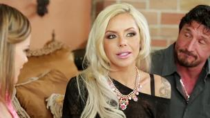 Hot blonde MILF Nina Elle fucks a teen with her husband