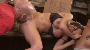 Two guys fuck this chick and ball batter all over her big tits
