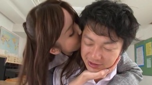 Rina Rukawa in panties fondles her student does oral job and pinned
