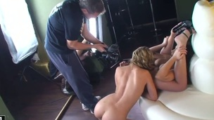 Sex tape of sexy charming lesbians babes having a good time is taken as they lick ass