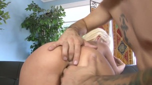 Charming seductress Rebecca Blue getting mouth screwed by Tommy Pistols hard meat stick