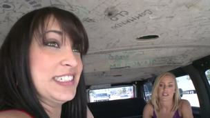 In this awesome Group-sex Bus episode 2 youthful hotties(Liz and Nicole Aniston) answer troubling questions about mankind, give the boys directions, and do some seductive posing.