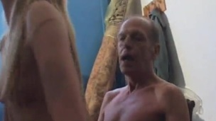 Sleaze Blonde female has bumped inside A Shed By mature Man