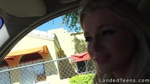 Sexy blonde teen hitchhiker sucks pecker