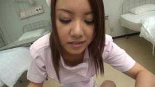 Enjoyable Japanese nurse treats her patient with lusty titfuck on POV